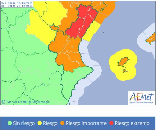 1163029268 El Tiempo Avisos meteorológicos Comunitat Valenciana Mañana Mapa Agencia Estatal de Meteorología AEMET Gobierno de España 1163029268