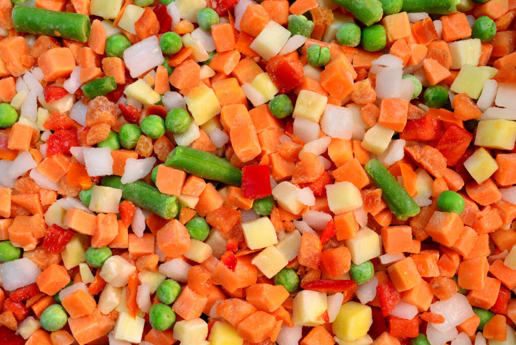 frozen vegetable cubes mix food texture background