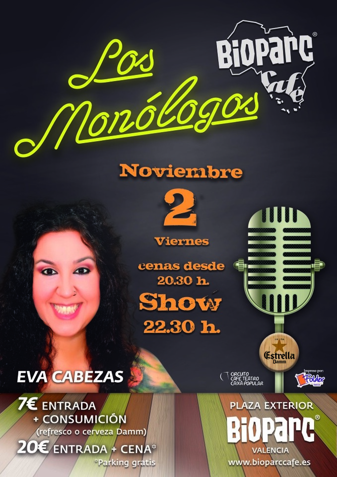 CARTEL MONOLOGO EVA CABEZAS - BIOPARC CAFÉ