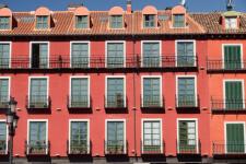 Valladolid, Spain - July 26, 2016: Valladolid (Castilla y Leon, Spain): historic buildings  in Plaza Mayor, the main square of the city