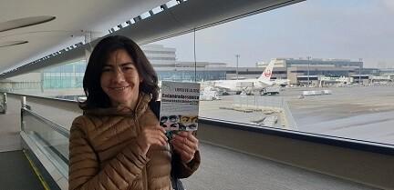 1 Amanda Sierra, delegada de LIBRO, VUELA LIBRE en Japón, llegando al aeropuerto de Tokio