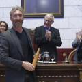 L'alcalde de València, Joan Ribó, acompanyat de la regidora de Cultura, Gloria Tello, i altres membres de l'equip de govern, participa en l'acte de lliurament dels XXXVI premis literaris Ciutat de València