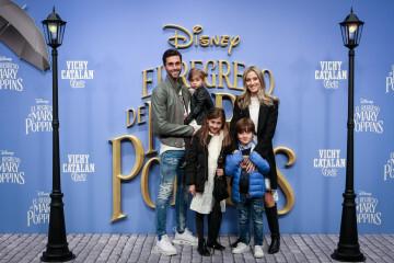 MADRID, SPAIN - DECEMBER 11: Alvaro Arbeloa (L) and wife Carlota Ruiz (R) attend 'El Regreso de Mary Poppins' premiere at Kinelpolis cinema on December 11, 2018 in Madrid, Spain. (Photo by Pablo Cuadra/Getty Images for Walt Disney Studios)