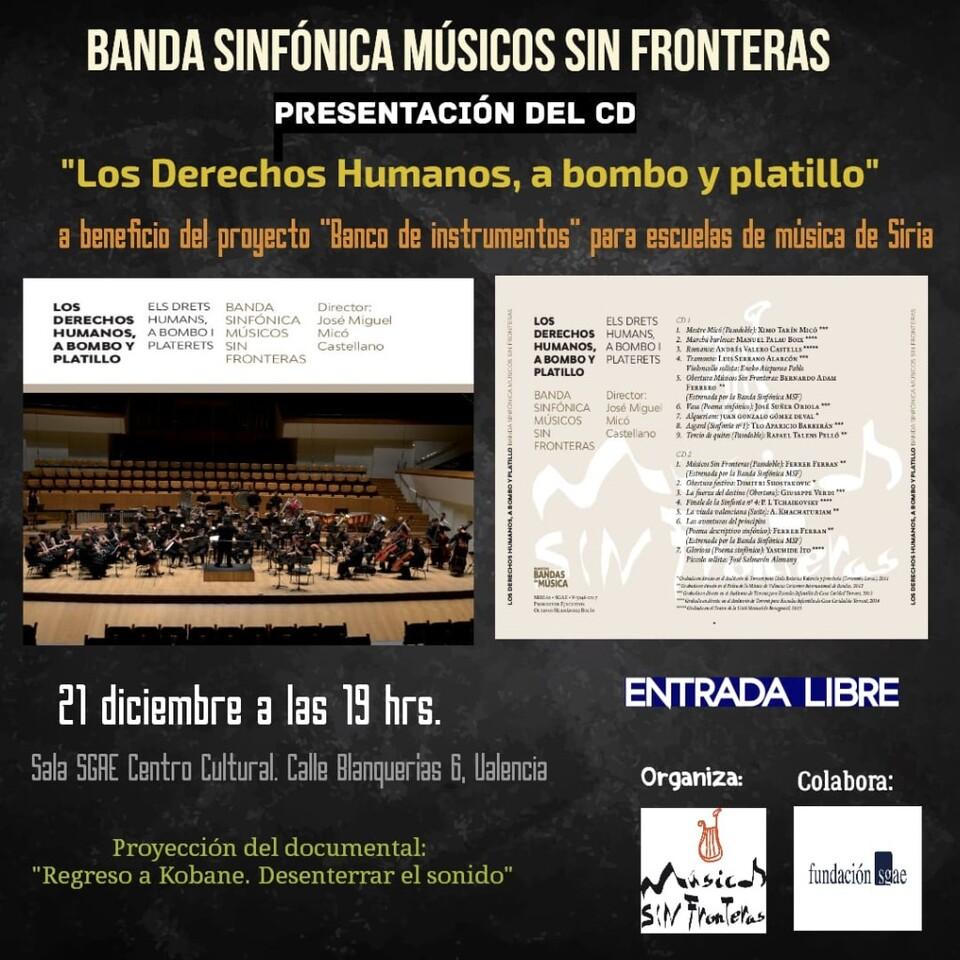 CARTEL PRESENTACIÓN CD LOS DERECHOS HUMANOS A BOMBO Y PLATILLO BSMSF 21-12-18