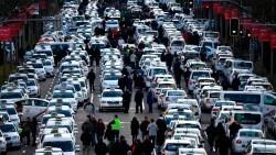 Taxistas madrileños en huelga