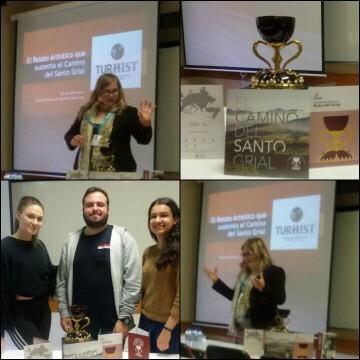 Alumnos erasmus en la Universidad de Algarve de Portugal muestran un gran interés por el Santo Grial de Valencia.