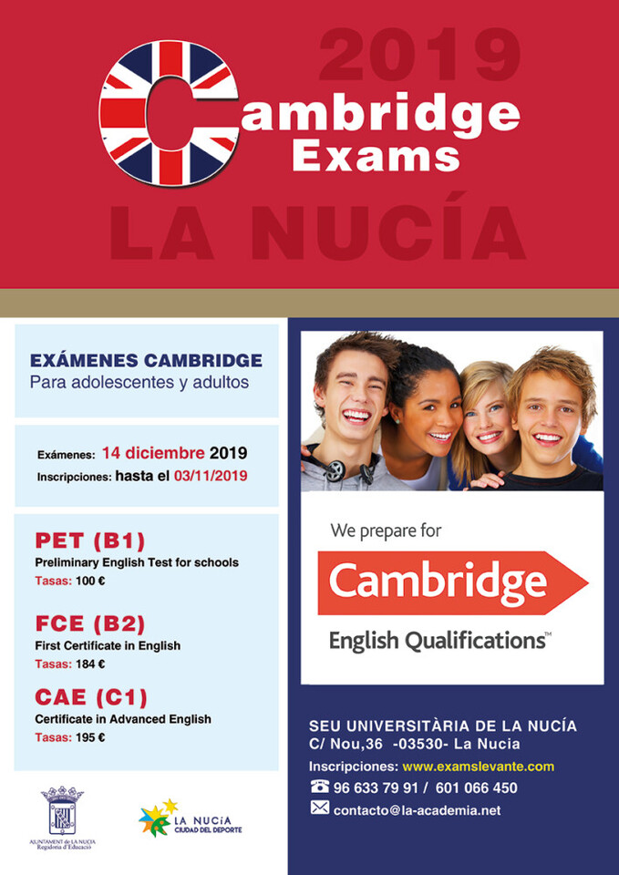 La Nucia cartel exams cambridge diciembre 2019