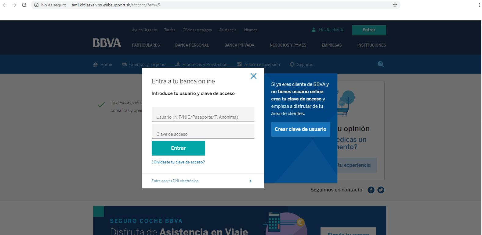 """""""phishing está suplantando la identidad de BBVA"""
