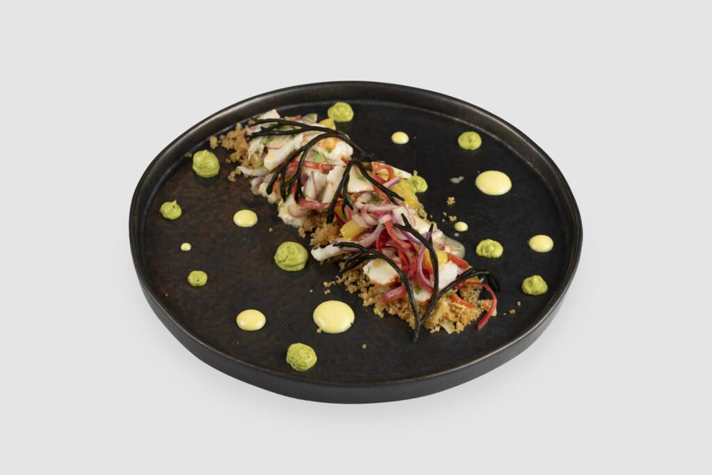 Ceviche tradicional con langostinos vegetales - Restaurante Oslo