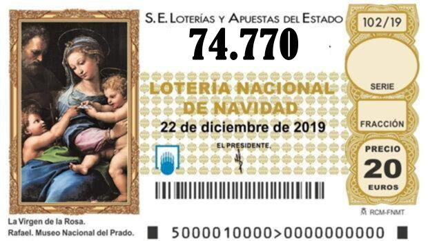 QUINTO QUINTO PREMIO Nº 74.770 de la lotería de Navidad