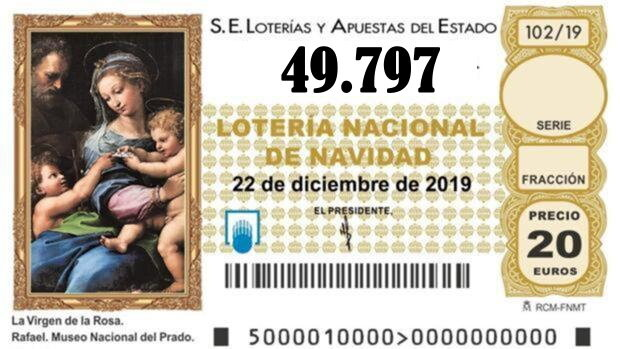 SEGUNDO CUARTO PREMIO Nº 49.797 de la lotería de Navidad