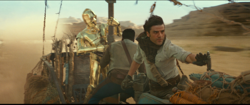 C3PO (Anthony Daniels), Finn (John Boyega) and Poe Dameron (Oscar Isaac) in STAR WARS:  THE RISE OF SKYWALKER.