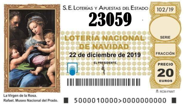 TERCER QUINTO PREMIO Nº 23059 de la lotería de Navidad