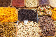 dried fruits and nuts on  counter at Spanish market