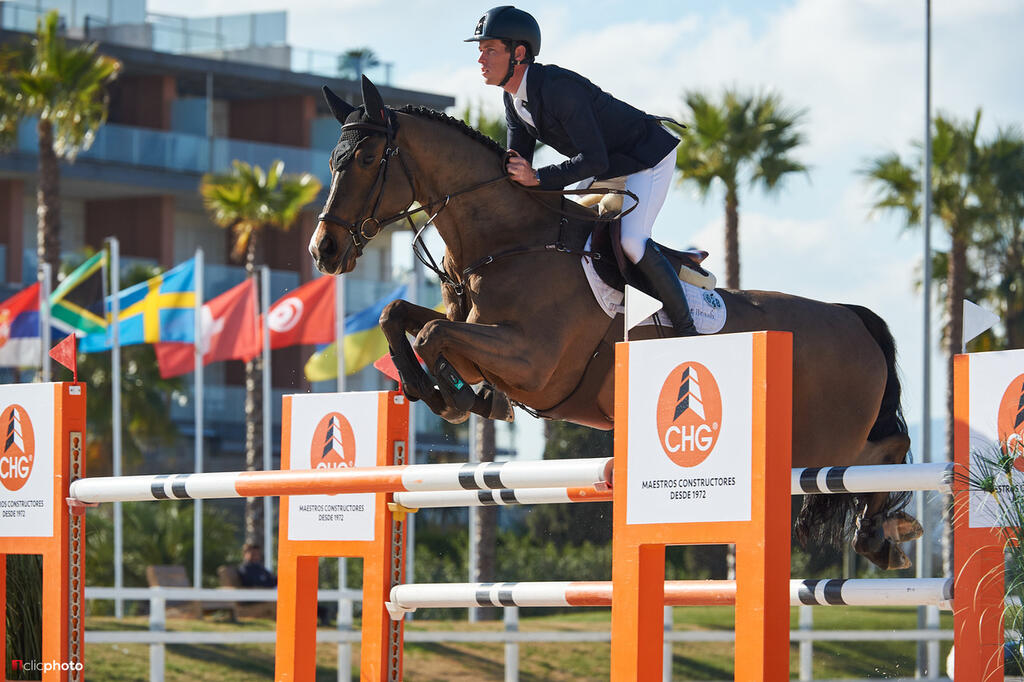 Oliva, Spain - 2019 February 16: Gold tour 1m45 during CSI Mediterranean Equestrian Spring Tour 2 (photo: 1clicphoto.com)